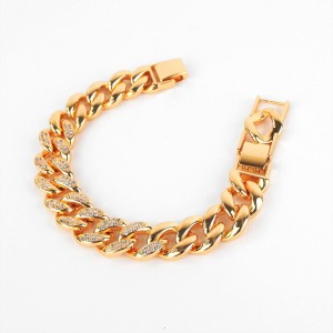 BRACCIALE CATENA GROUMETTE IN OTTONE COLOR ORO CON ZIRCONI