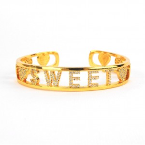BRACCIALE RIGIDO SWEET IN OTTONE COLOR ORO CON ZIRCONI