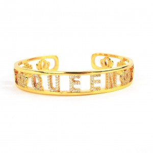 BRACCIALE RIGIDO QUEEN IN OTTONE COLOR ORO CON ZIRCONI