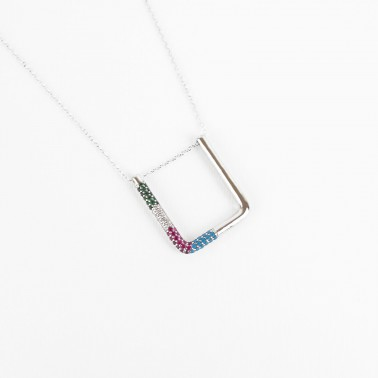 COLLANA GEOMETRIC CON ZIRCONI MULTICOLOR