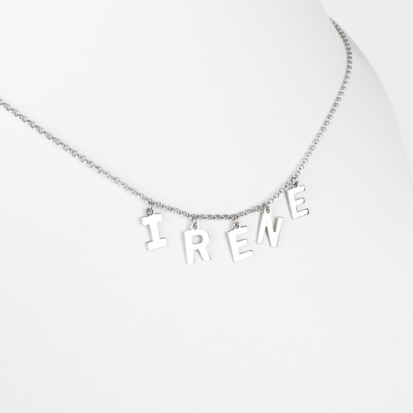 COLLANA NOME LETTERE LISCE IN ARGENTO 925
